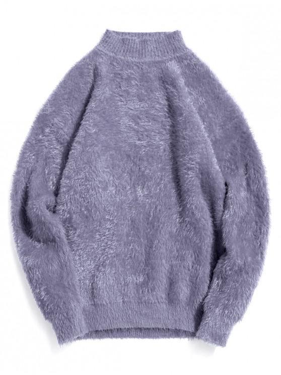 Casual color sólido suéter de cuello Mock - Gris de Acorazado M
