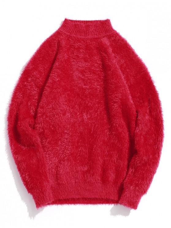 Casual color sólido suéter de cuello Mock - Rojo L