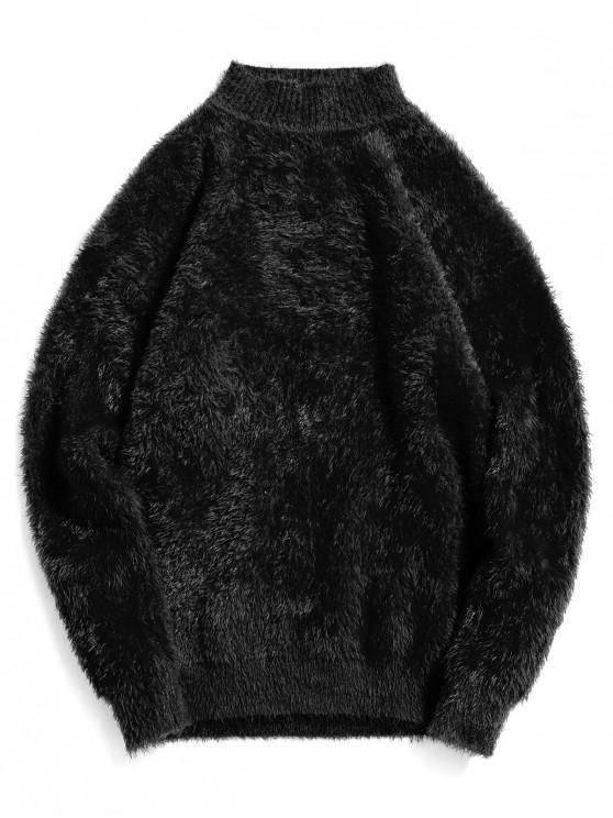 Casual color sólido suéter de cuello Mock - Negro 3XL