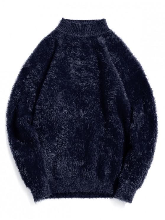 Casual color sólido suéter de cuello Mock - Cadetblue 3XL