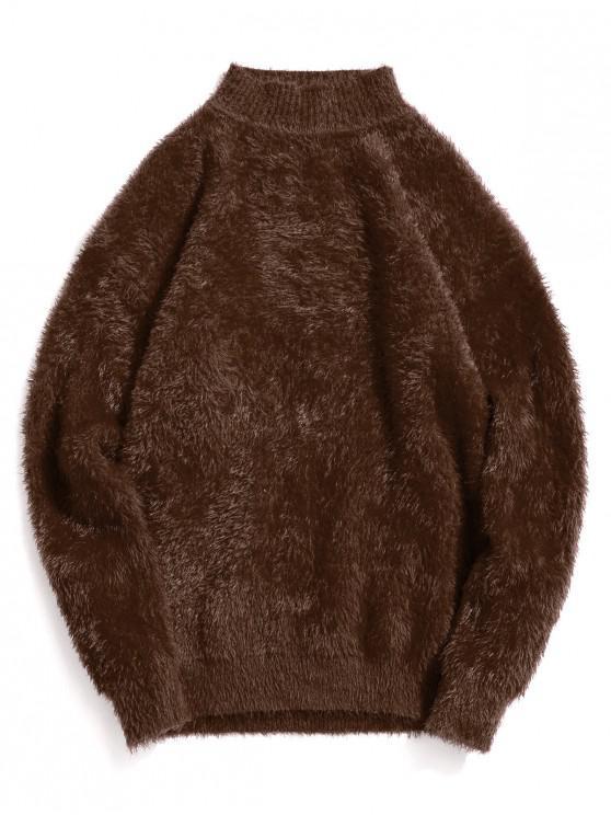 Casual color sólido suéter de cuello Mock - Café 3XL