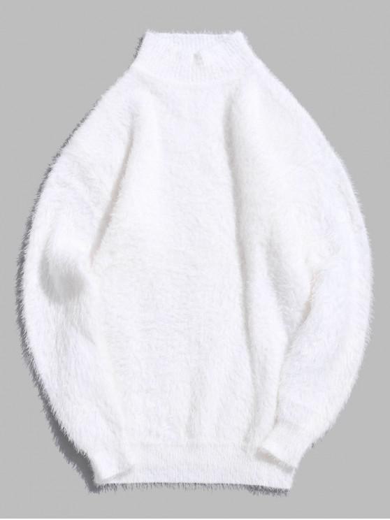 Suéter de manga larga con cuello redondo y color liso - Blanco M
