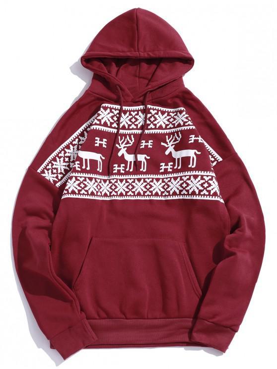 Christmas Elk Snowflake Graphic Print Fleece Sudadera con capucha - Rojo L