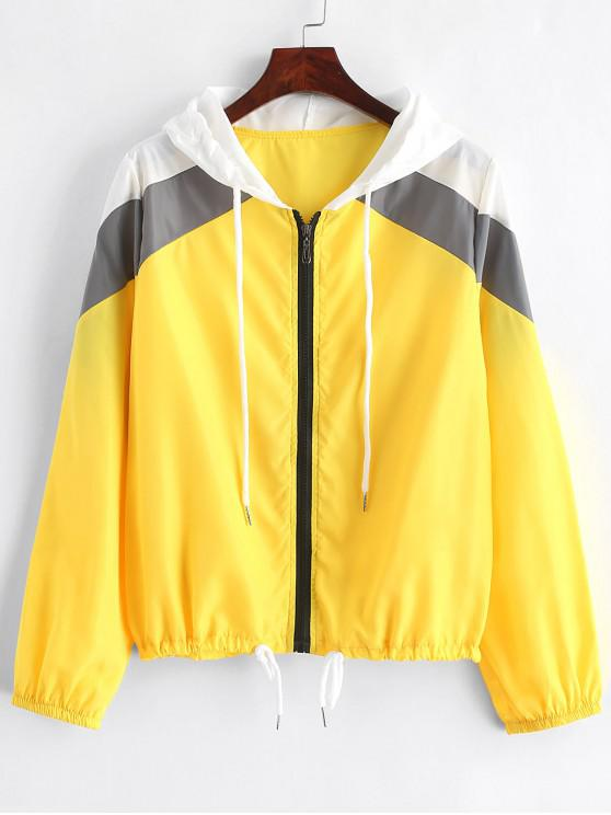 unique Hooded Zip Up Color Block Windbreaker Jacket - YELLOW XL