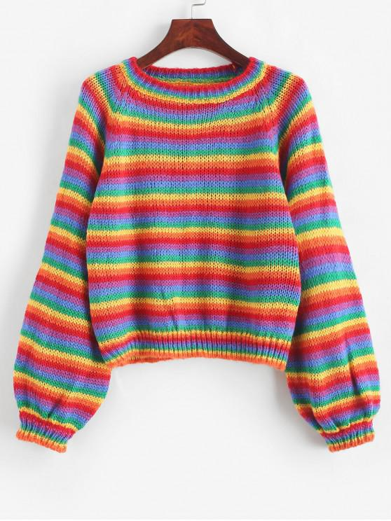 sale Raglan Sleeve Rainbow Stripes Pullover Sweater - MULTI-A ONE SIZE