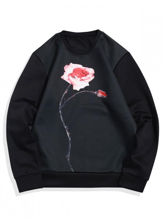 Camisola básica do pescoço de grupo da cópia da flor - Preto M