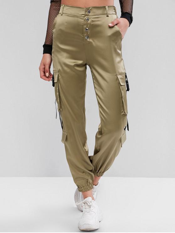 women Snap Button Buckle Satin Jogger Pants - DARK KHAKI M