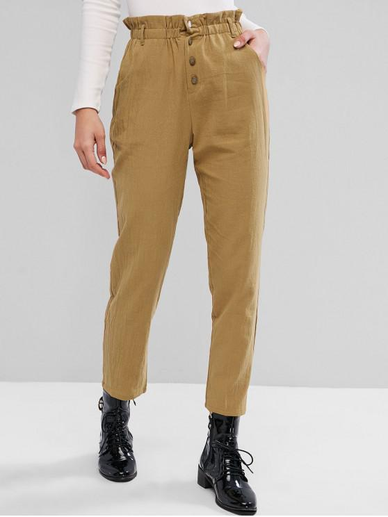 latest ZAFUL Solid Button Fly Straight Paperbag Pants - TAN S