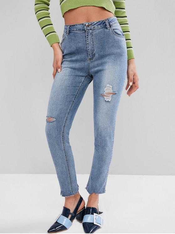 ladies High Waisted Ripped Frayed Hem Skinny Jeans - DENIM BLUE M