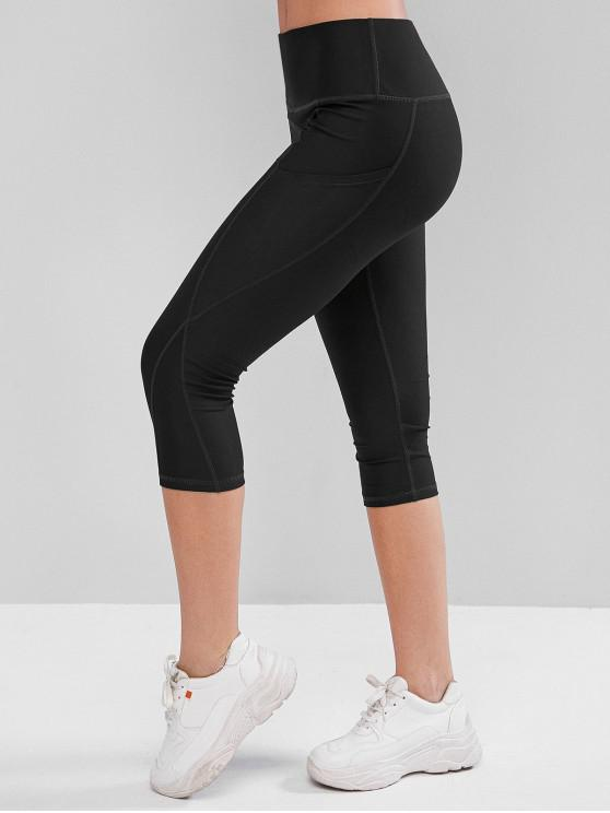 unique High Waisted Stitching Pockets Capri Leggings - BLACK M