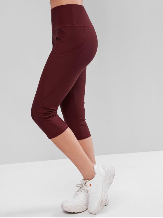 Leggings Capri con bolsillos de costura de cintura alta - Rojo S