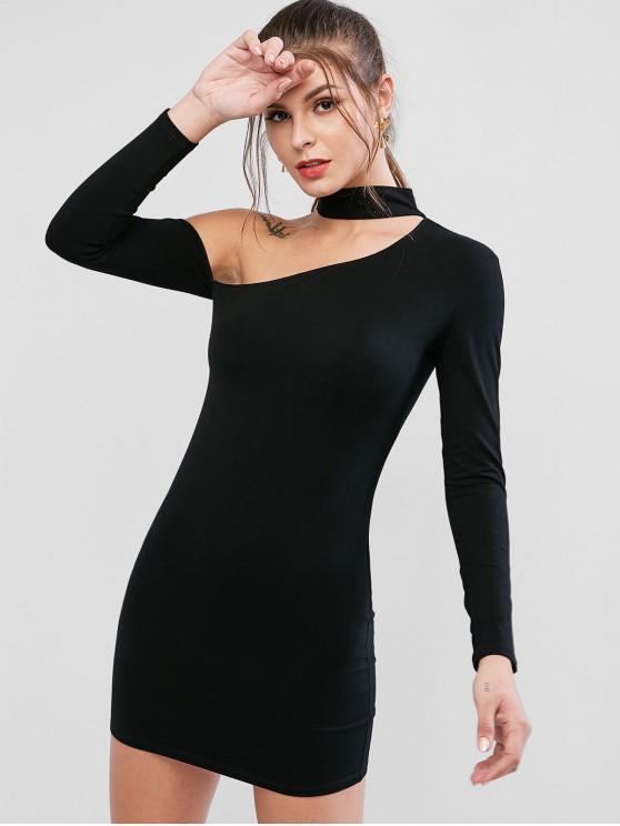 latest Solid Color Bodycon Choker Dress - BLACK S