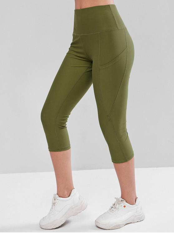 latest High Waisted Stitching Pockets Capri Leggings - ARMY GREEN L