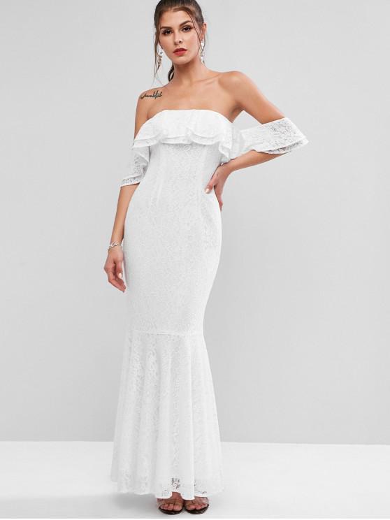 Zaful Layered Ruffles Off Shoulder Mermaid Lace Dress White