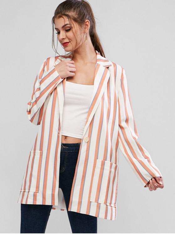 women's Striped Pocket Longline Blazer - MULTI-A M