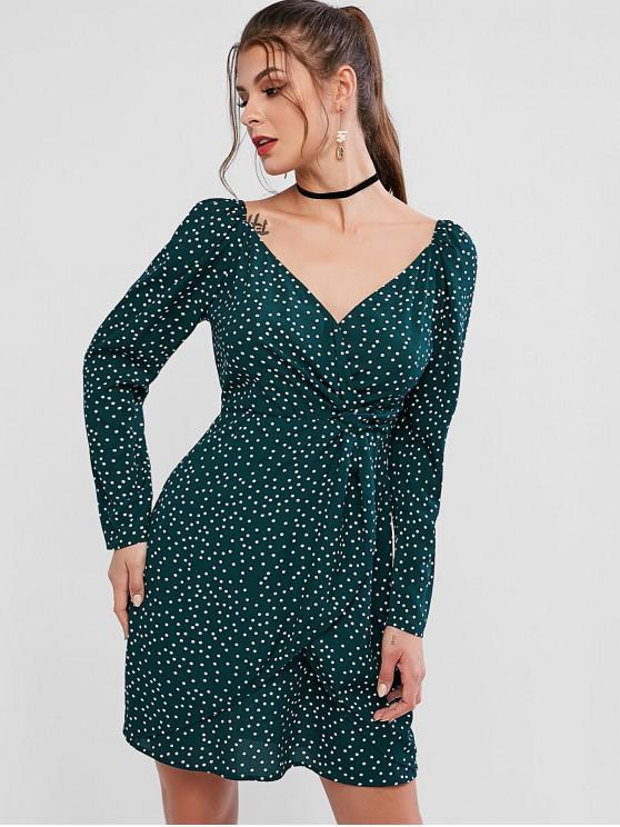 outfit ZAFUL Long Sleeve Dots Overlap Mini Dress - GREEN M