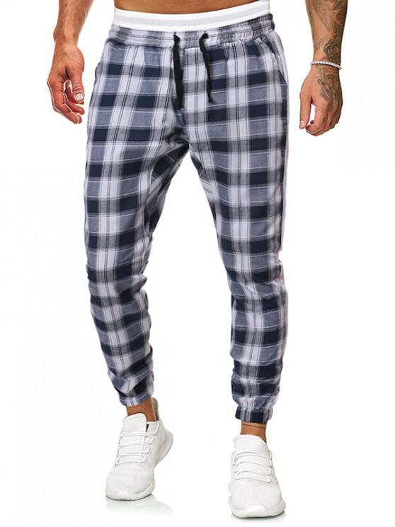 women Contrast Trim Striped Drawstring Jogger Pants - BLUE S