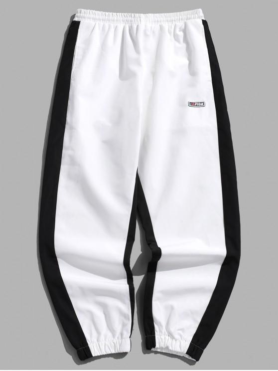 affordable Hit Color Drawstring Jogger Pants - WHITE M
