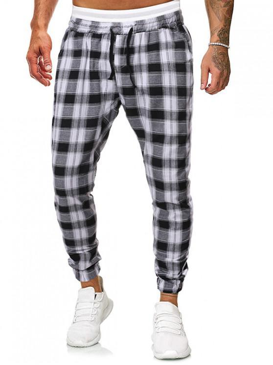 Pantalones de chándal con cordón a rayas en contraste - Negro XS