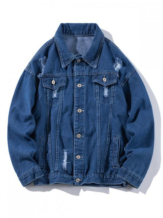 unique Ripped Single-breasted Denim Jacket - DEEP BLUE 3XL