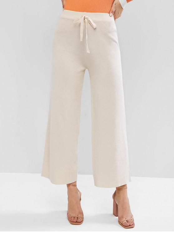 womens High Waisted Tie Wide Leg Knitted Pants - APRICOT ONE SIZE