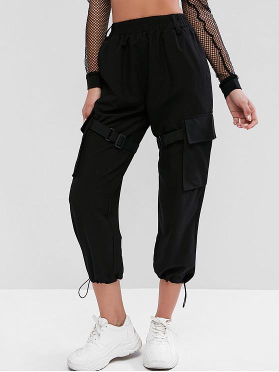 outfits Buckle Belt Pockets Wide Leg Pants - BLACK S