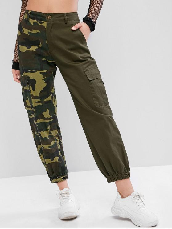 sale Camouflage Pockets Loose Jogger Pants - ARMY GREEN L