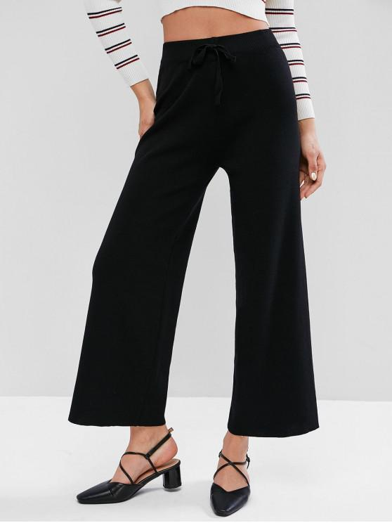 Pantalones de punto de pierna ancha con lazo de cintura alta - Negro Talla única