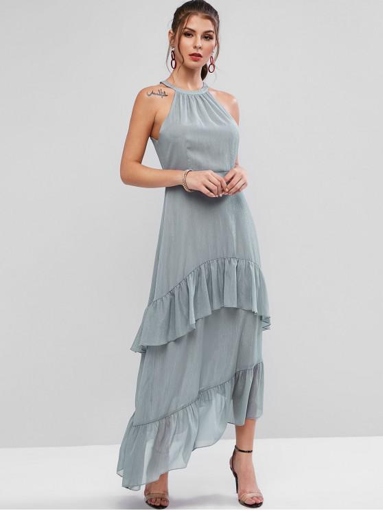 women ZAFUL Sleeveless Metallic Layered Ruffles Maxi Dress - GRAY XL