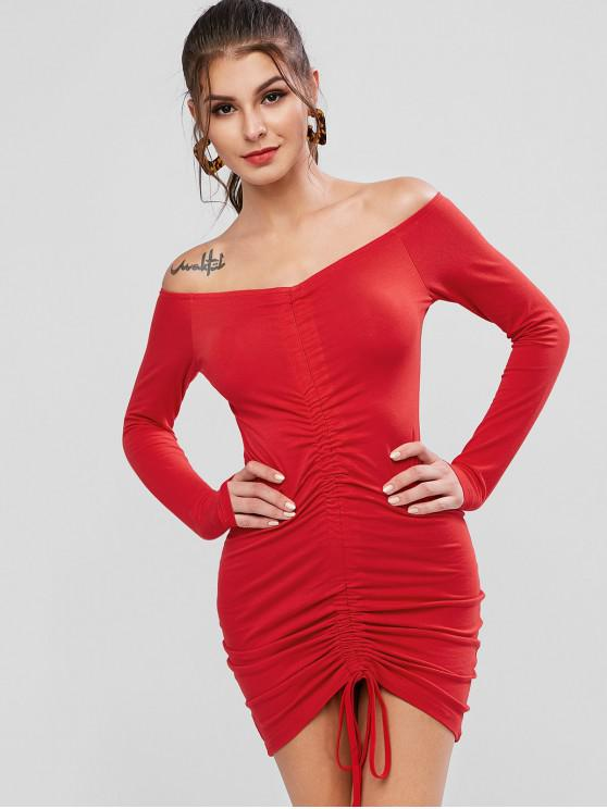 lady Off Shoulder Cinched Bodycon Solid Dress - RED L