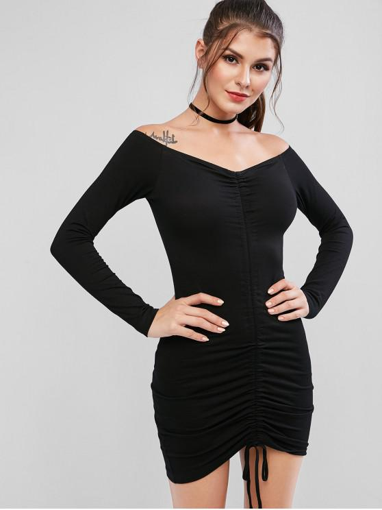 sale Off Shoulder Cinched Bodycon Solid Dress - BLACK L