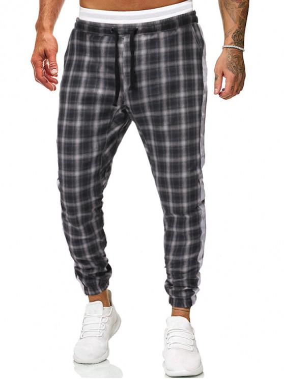 hot Contrast Trim Plaid Drawstring Jogger Pants - BLACK S
