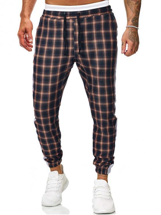Pantalones de chándal con cordón a cuadros en contraste - Cadetblue M