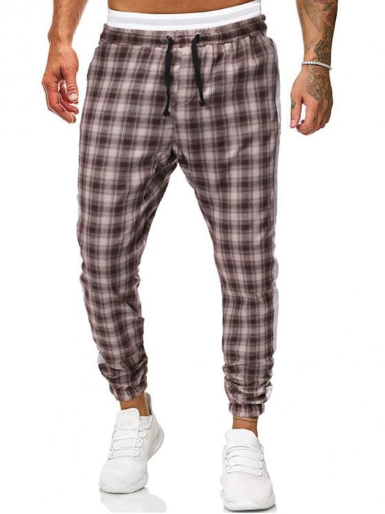 fashion Contrast Trim Plaid Drawstring Jogger Pants - YELLOW M