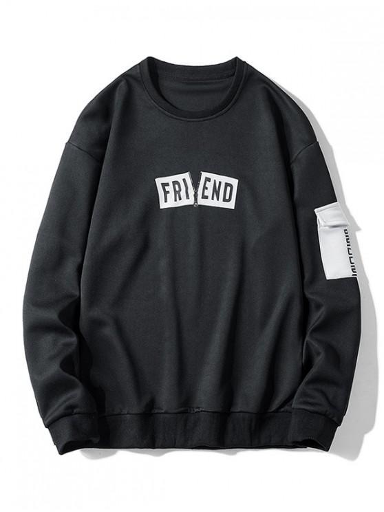 women Side Flap Pocket Letter Print Casual Sweatshirt - BLACK S