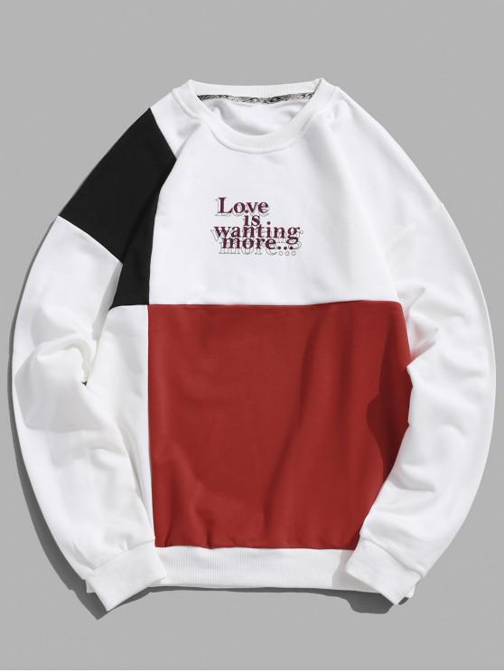 womens Letter Print Hit Color Graphic Sweatshirt - RED M