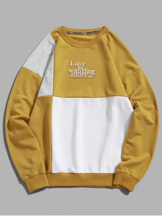 online Letter Print Hit Color Graphic Sweatshirt - WHITE XL
