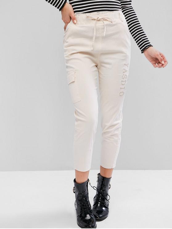 trendy Drawstring Raw Hem Embroidered Pocket Pencil Pants - WHITE M