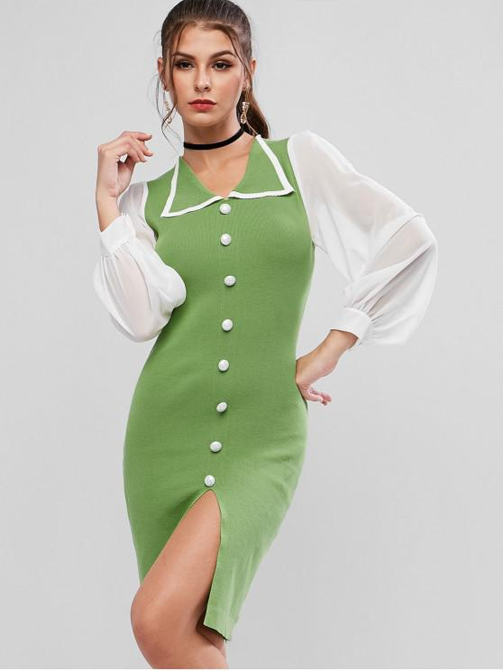 affordable Chiffon Sheer Two Tone Slit Knit Pencil Dress - GREEN APPLE ONE SIZE