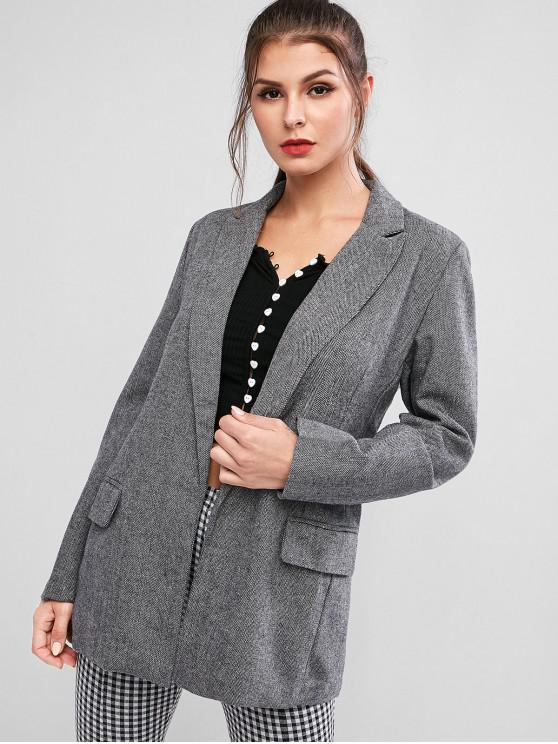 ladies Tweed Open Front Longline Blazer - GRAY L
