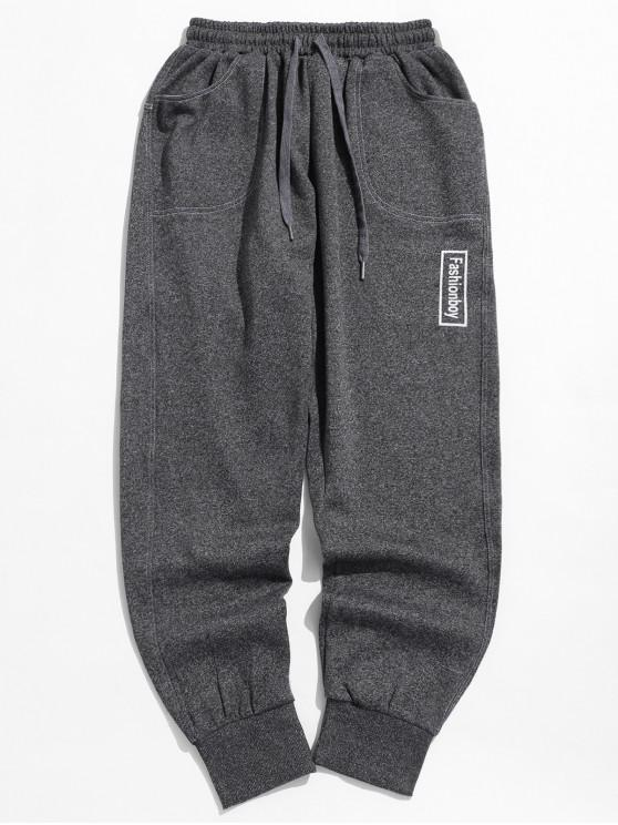 shop Drawstring Graphic Jogger Pants - LIGHT SLATE GRAY L