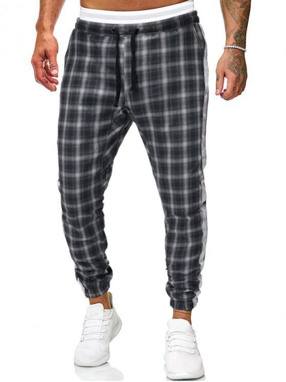 Pantalones de chándal con cordón a cuadros en contraste - Gris Oscuro S