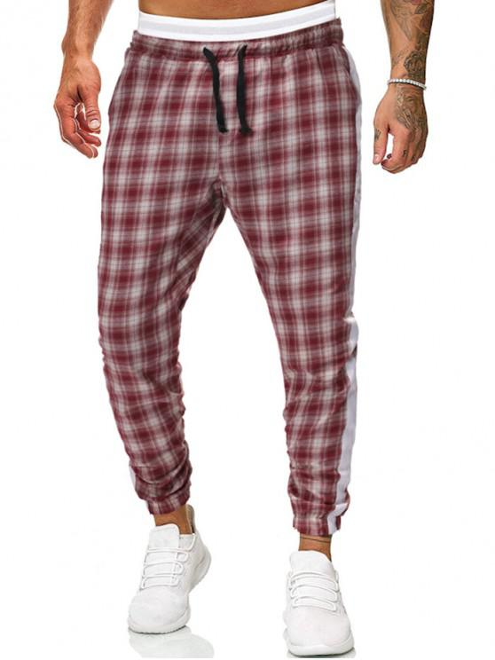 chic Contrast Trim Checked Drawstring Jogger Pants - ORANGE XS