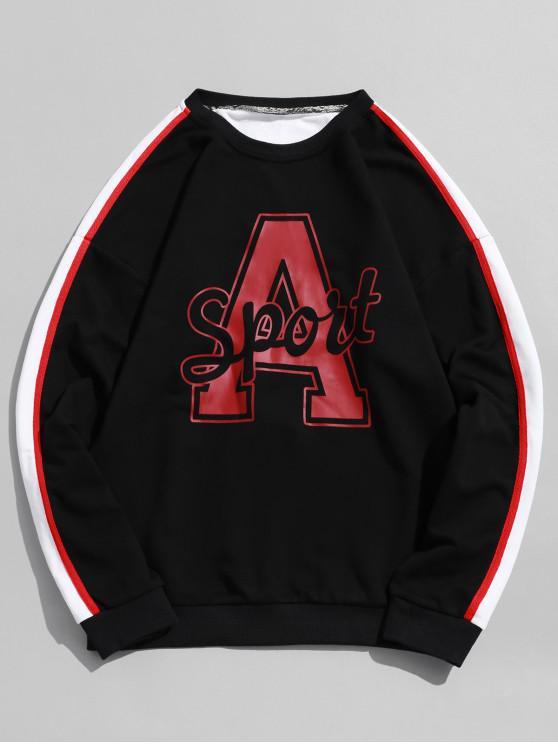 chic Letter Graphic Print Drop Shoulder Contrast Pullover Sweatshirt - BLACK XL
