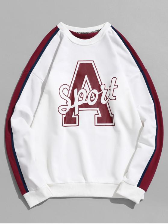 unique Letter Graphic Print Drop Shoulder Contrast Pullover Sweatshirt - WHITE M