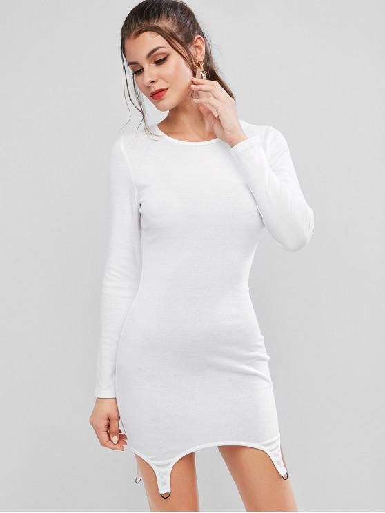 women's D Ring Long Sleeve Bodycon Mini Dress - WHITE L
