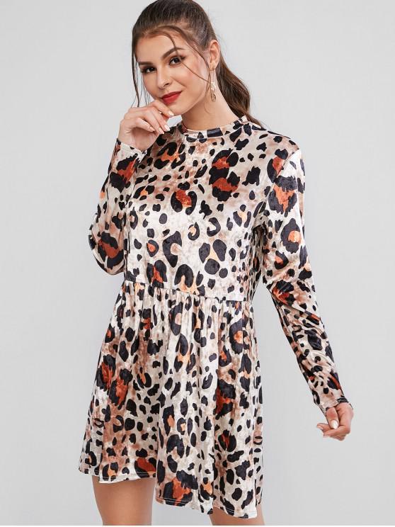 Бархатное Леопардовое Платье С длинным рукавом Круглый воротник - Леопард M