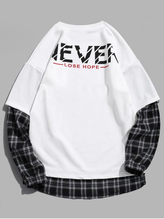 women's Plaid Print Drop Shoulder Faux Twinset Slogan Sweatshirt - WHITE L