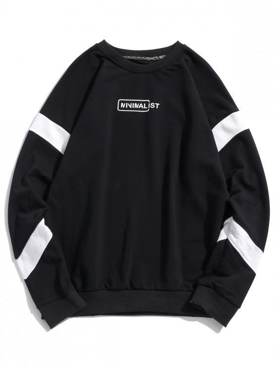 unique Drop Shoulder Stripe Trim Graphic Sweatshirt - BLACK L