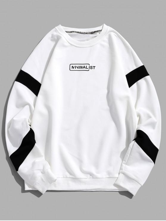 best Drop Shoulder Stripe Trim Graphic Sweatshirt - WHITE XL